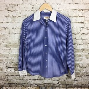 Talbots blue stripe blouse with French cuffs